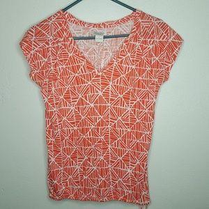 Lucky Brand Orange White S Top Tee Shirt Blouse